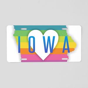 Iowa Heart Rainbow Aluminum License Plate