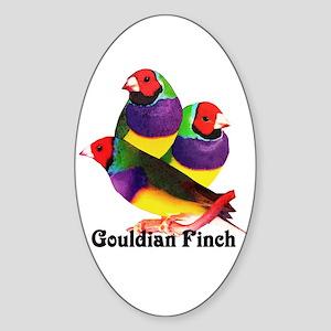 Gouldian Finch Oval Sticker