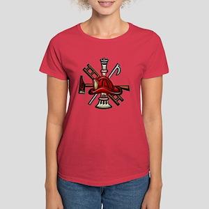 Women's Dark T-Shirt Firefighter Graphic Symbols