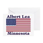 Albert Lea US Flag Greeting Cards (Pk of 10)