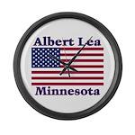 Albert Lea US Flag Large Wall Clock