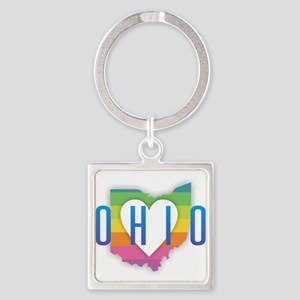 Ohio Heart Rainbow Keychains