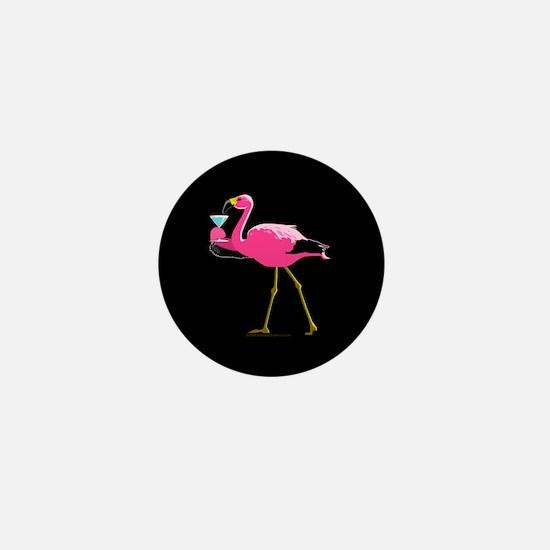 Pink Flamigo With Martini Mini Button