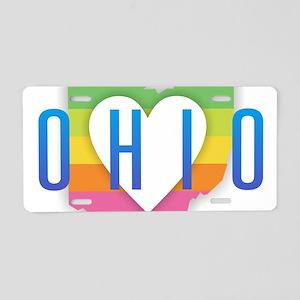 Ohio Heart Rainbow Aluminum License Plate