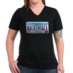 Hackensack License Plate Women's V-Neck Dark T-Shi