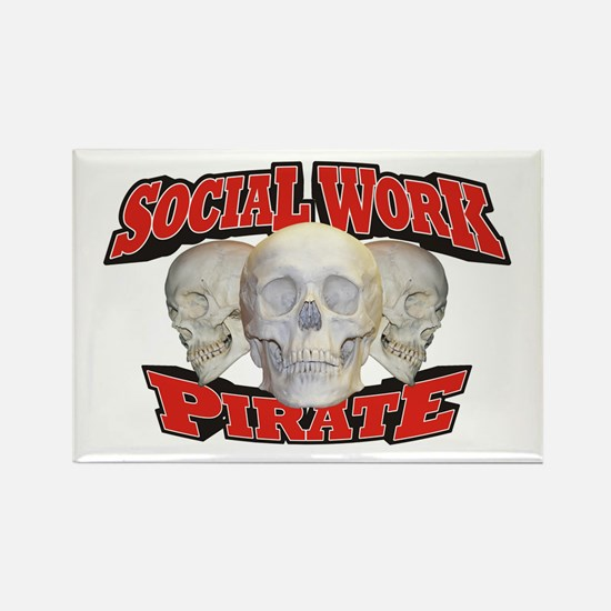 Social Work Pirate Rectangle Magnet