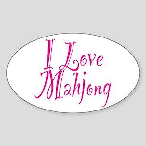 I Love Mahjong Sticker (Oval)