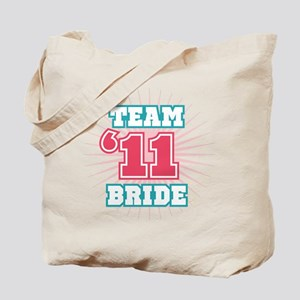 Turquoise 11 Team Bride Tote Bag