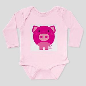 Pink Pig Long Sleeve Infant Bodysuit