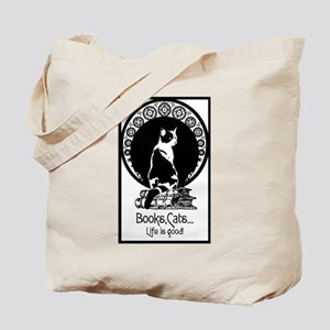 Books,Cats,Life is good Tote Bag