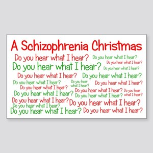 Schizophrenia Christmas Sticker (Rectangle)