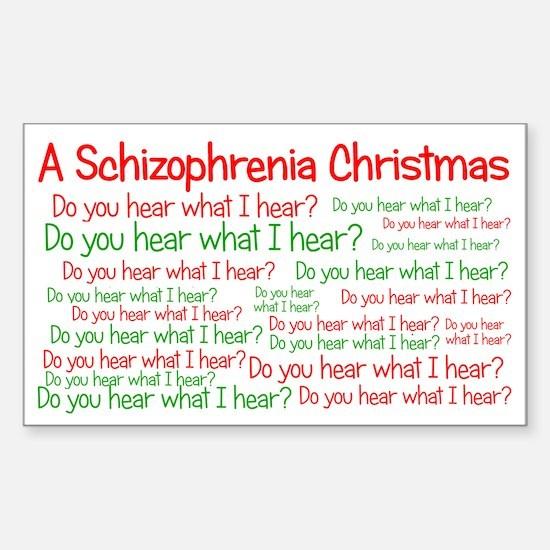 Schizophrenia Christmas Sticker (Rectangle)