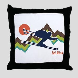 Ski Utah Throw Pillow
