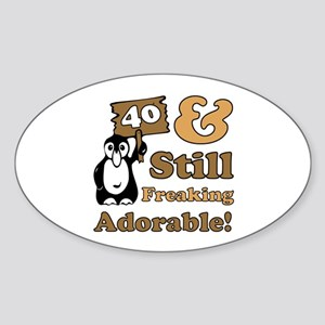 Adorable 40th Birthday Sticker (Oval)