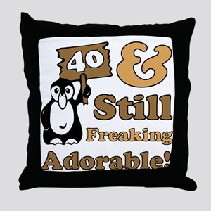 Adorable 40th Birthday Throw Pillow