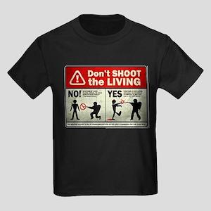 Don't Shoot the Living Zombie Kids Dark T-Shirt