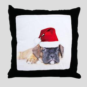 Christmas Boxer Puppy Throw Pillow
