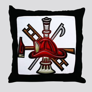 Throw Pillow Firefighter Graphic Symbols Tools