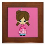 Cute Little Geisha Girl Framed Tile