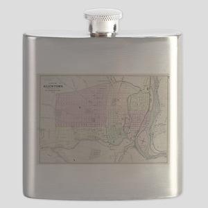 Vintage Map of Allentown Pennsylvania (1872) Flask