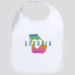 Georgia Heart Rainbow Baby Bib
