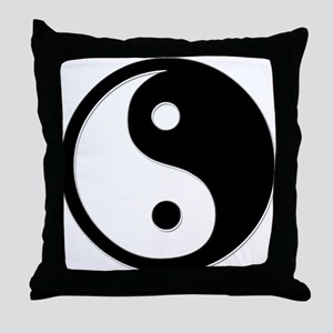 Black Yin Yang Throw Pillow