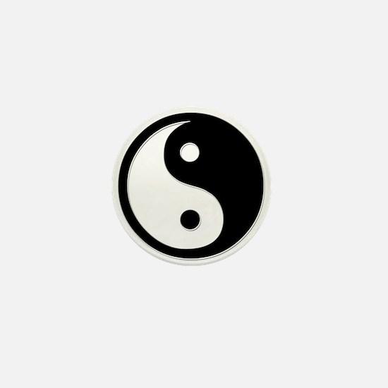 Black Yin Yang Mini Button