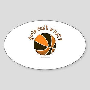 Black/Orange Basketball Sticker (Oval)