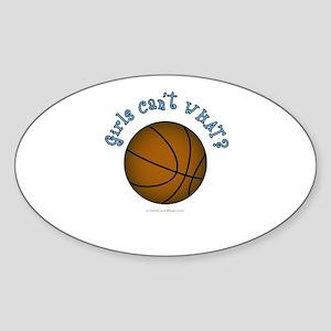 Brown/Sky Blue Basketball Sticker (Oval)