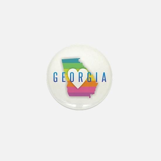 Georgia Heart Rainbow Mini Button