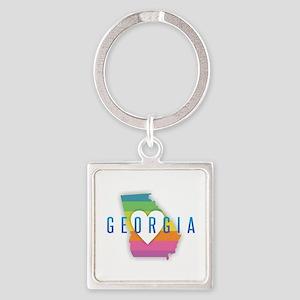 Georgia Heart Rainbow Keychains
