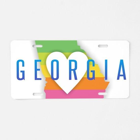 Georgia Heart Rainbow Aluminum License Plate