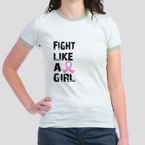 Licensed Fight Like a Girl 21.8 Jr. Ringer T-Shirt