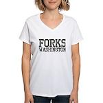 Forks, WA Women's V-Neck T-Shirt