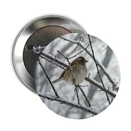 Sparrow in a Snowstorm Photo Button