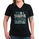 Dharma Thing Women's V-Neck Dark T-Shirt