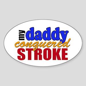 Dad Conquered Stroke Sticker (Oval)