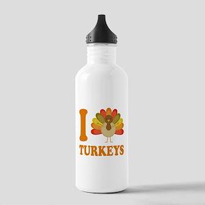 I Love Heart Turkeys Stainless Water Bottle 1.0L