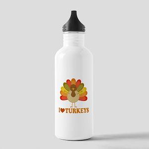 Cute I Heart Turkeys Stainless Water Bottle 1.0L