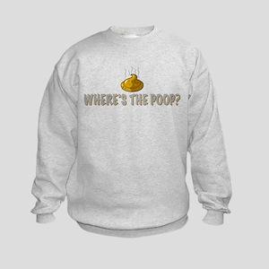 Where's the poop? Kids Sweatshirt