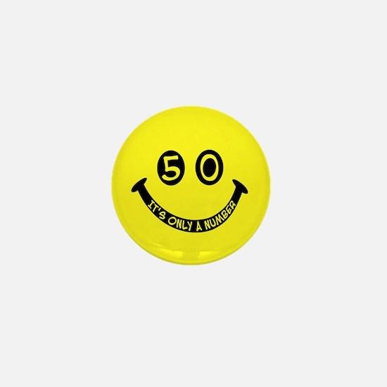50th birthday smiley face Mini Button