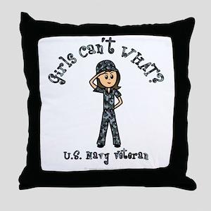 Light Navy Veteran (Blue Camo) Throw Pillow