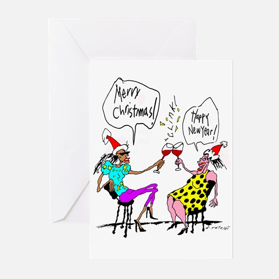 Two Christmas Ladies Greeting Cards (Pk of 10)