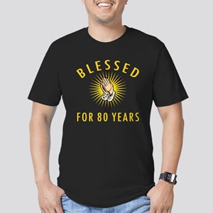 Blessed For 80 Years Men's Fitted T-Shirt (dark)