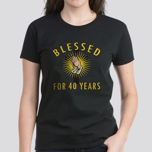 Blessed For 40 Years Women's Dark T-Shirt