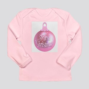 Pink First Christmas Ornament Long Sleeve Infant T