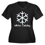 Winter Caching Women's Plus Size V-Neck Dark T-Shi