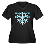 Real Cachers-Blue Women's Plus Size V-Neck Dark T-