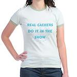 Real Cachers-Blue Jr. Ringer T-Shirt