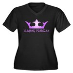Climbing Princess Women's Plus Size V-Neck Dark T-